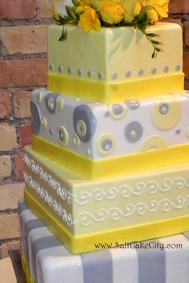 Grey+yellow+wedding+cake | Salt Cake City: Yellow & Gray Square Wedding Cake