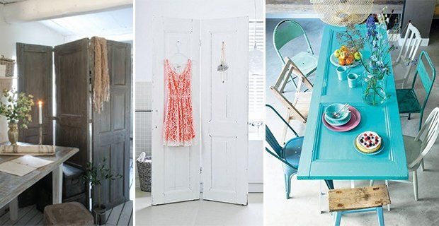 Recycled doors to be used as tables and screens