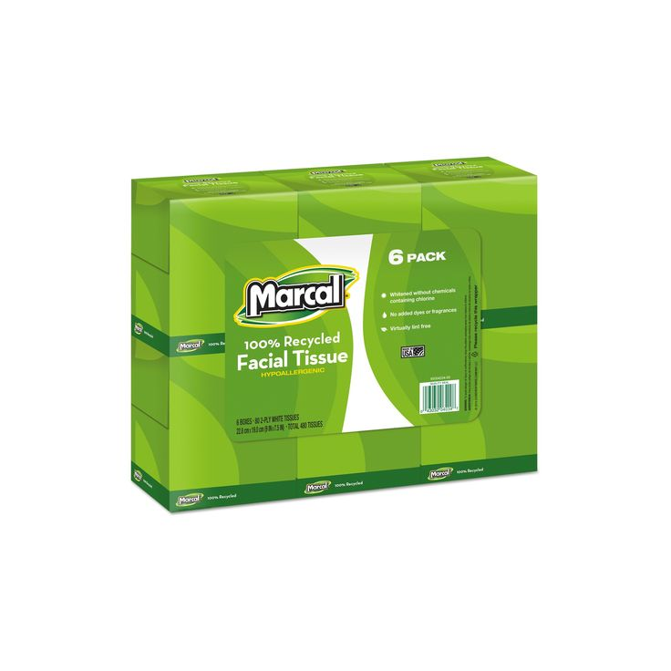 Marcal Pro Recycled White Facial Tissue-Fluff-Out Boutique Box, 80/Box-6 Boxes/Pack