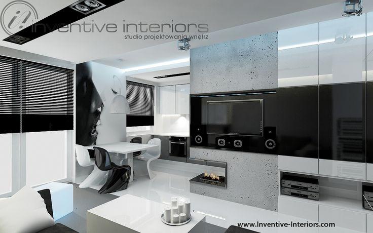 Projekt salonu Inventive Interiors - biało czarny męski salon - fototapeta - pomysł na zabudowę ściany TV
