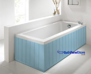 Tongue and Groove Light Blue 2 Piece adjustable Bath Panels