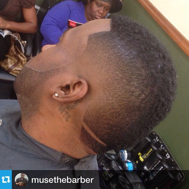 Burst Fade Haircut with a part in the back performed by @musethebarber www.nationalbarbersassociation.com