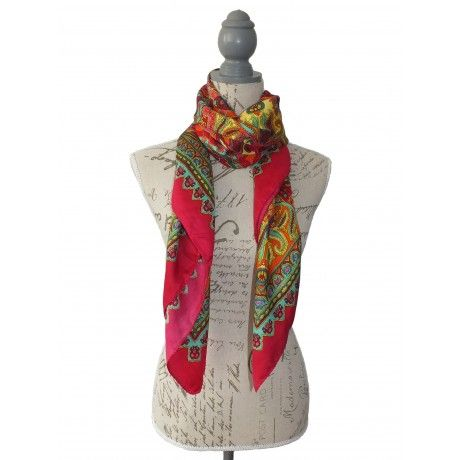 red and green silk scarf