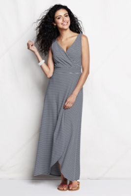 Women's Striped Maxi Length Jersey Crossover Dress