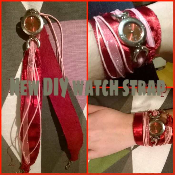 Watch, strap, pink, red, girl only, new, DIY, ribbon, necklace