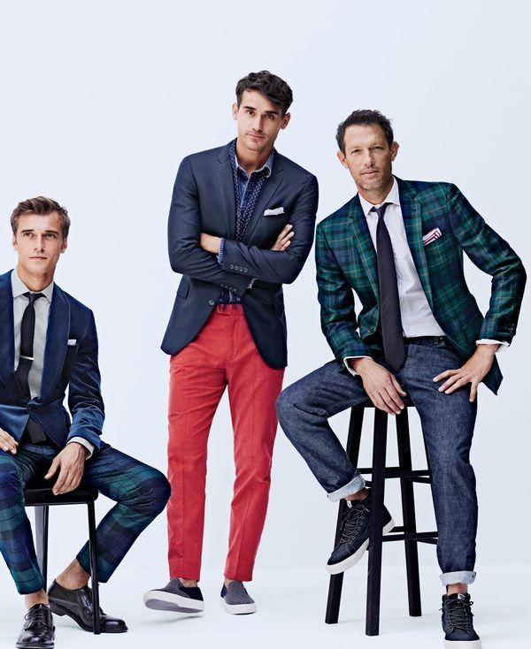 J.Crew men's Ludlow shawl-collar blazer in velvet, Bowery slim pant in Black Watch cotton and Ludlow balmoral shoes. J.Crew men's Ludlow legacy blazer, Bowery slim pant in 18-wale corduroy and Sperry® for J.Crew slip-on sneakers. J.Crew men's Ludlow blazer in tartan, stretch jean in 484 fit and Vans® for J.Crew SK8-Hi sneakers in monotone suede.