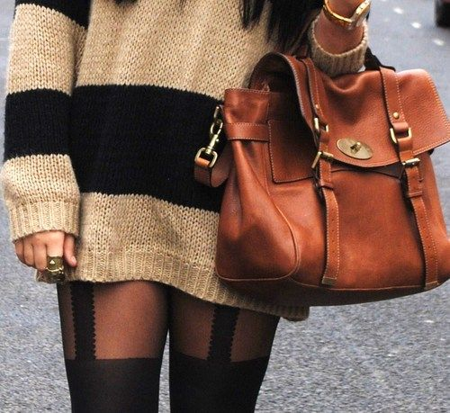 oversize comfy sweater, sexy tights, and a leather bag Kind of want to repeat this for fall <33