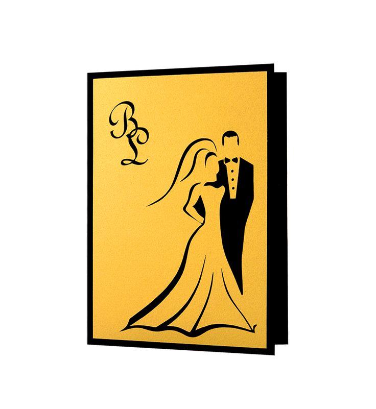 Invitatie nunta mire si mireasa cu modele realizate din carton auriu aplicat manual in multiple straturi