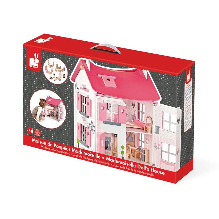Cette maison de poupées en bois offre plein de possibilités de jouer aux enfants grâce à ses 3 étages, ses accessoires et ses figurines inclus. Les portes sont magnétiques et la maison peut également s'ouvrir par le toit pour accéder encore mieux aux pièces. La décoration soignée et les jolies couleurs aideront l'enfant à imaginer plein d'histoires.