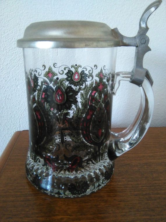 Alfred Taube Bier Stein with Pewter Lid by Gondara on Etsy