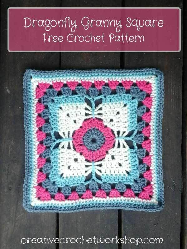 Dragonfly Granny Square - Free Crochet Pattern | Creative Crochet Workshop