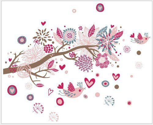 Home-super Wholesale Biggest DIY Removable Bohemia Color Flower Tree Love Bird Wall Decor Decoration Sticker Mural