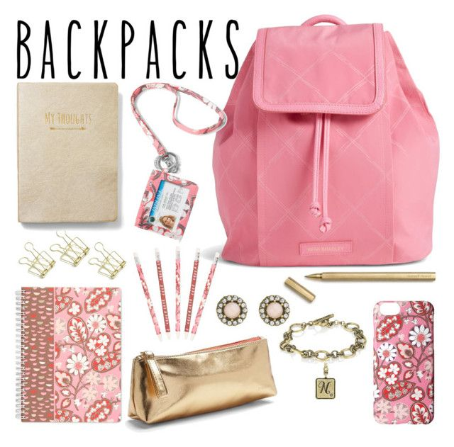 """Pink Vera Bradley Backpack"" by nancy-nicol ❤ liked on Polyvore featuring Vera Bradley, Chloe + Isabel, Express, backpacks, contestentry and PVStyleInsiderContest"