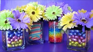 Make a rainbow in a vase! Candy filled flower vases. Sweet Easter Flower Vases Centerpiece Arrangements. Cute diy table centerpiece for baby showers, weddings, birthdays and parties.