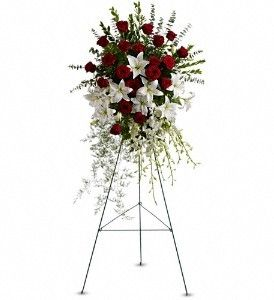 #FDH_Lily and #Rose_Tribute_Spray  Pure white lilies and dendrobium orchids mingle with red roses, white asiatic lilies and more in this magnificent and impressive standing spray of the finest blooms.