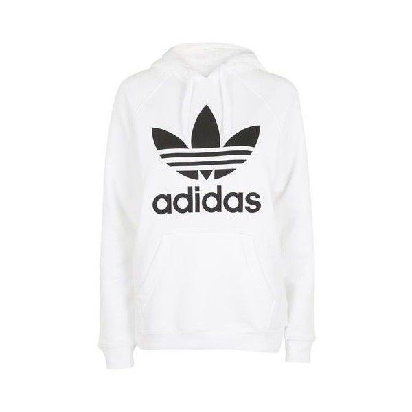 Trefoil Hoodie by Adidas Originals ($66) ❤ liked on Polyvore featuring tops, hoodies, white, cotton hooded sweatshirt, sweatshirt hoodies, white cotton tops, cotton hoodies and trefoil hoodie