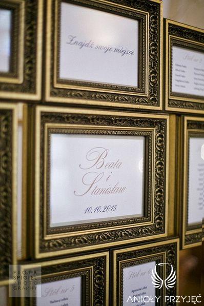 5. Platinum Gold Wedding, Table plan, frames / Platynowo złote wesele, Tablica z rozsadzeniem gości, ramki, Anioły Przyjęć
