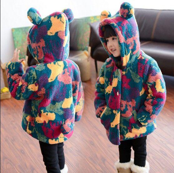 2017 Filles De Mode Camouflage Velours Épaissir Manteau Enfants Longue Multicolore Casual Veste Enfants Vêtements D'hiver Survêtement G247