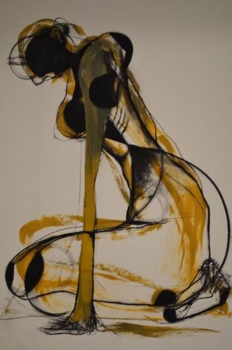 Drawing by Carmel Jenkin Dispirited, charcoal and acrylic on..., painting by artist Carmel Jenkin
