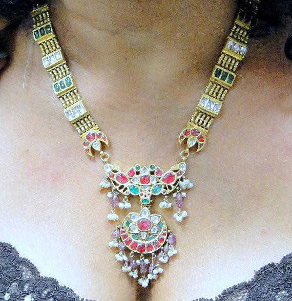 vintage antique 20 ct solid gold NECKLACE kundan by TRIBALEXPORT, $7800.00