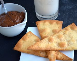 We have a fun and inventive new take on the chocolate dip with this Pizza Chips with Chocolate Coconut Peanut Dip recipe. #glutenfree