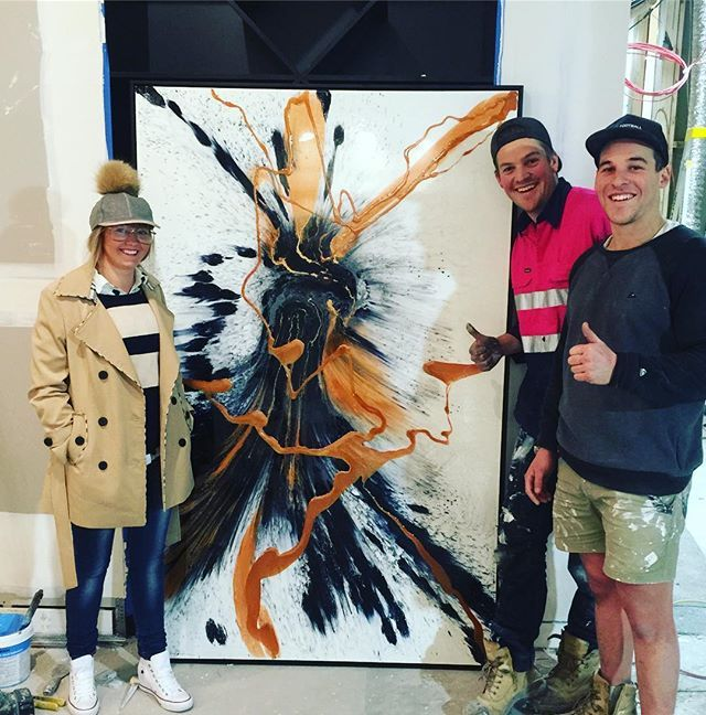 First 1 of 4 of my paintings that are going to be on this season of the @theblock stay tuned @andyandbenblock @trenic_builder @channel9 #copper #theblockshop #resinart #resinartist shop the look @theblockshop
