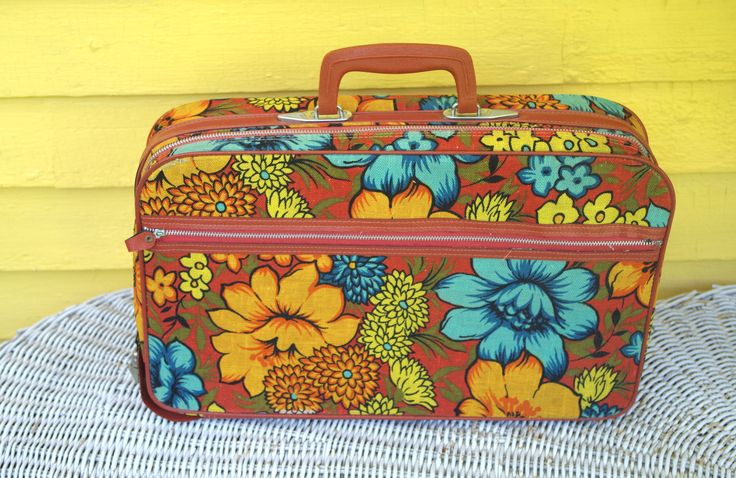 Vintage 1960s Floral Cloth Small Suitcase Overnight Bag By Bantam Travelware Flower Power by retrowarehouse on Etsy