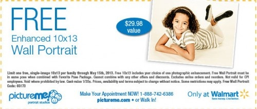 PictureMe Studio Coupon For a Free 10×13 Wall Portrait