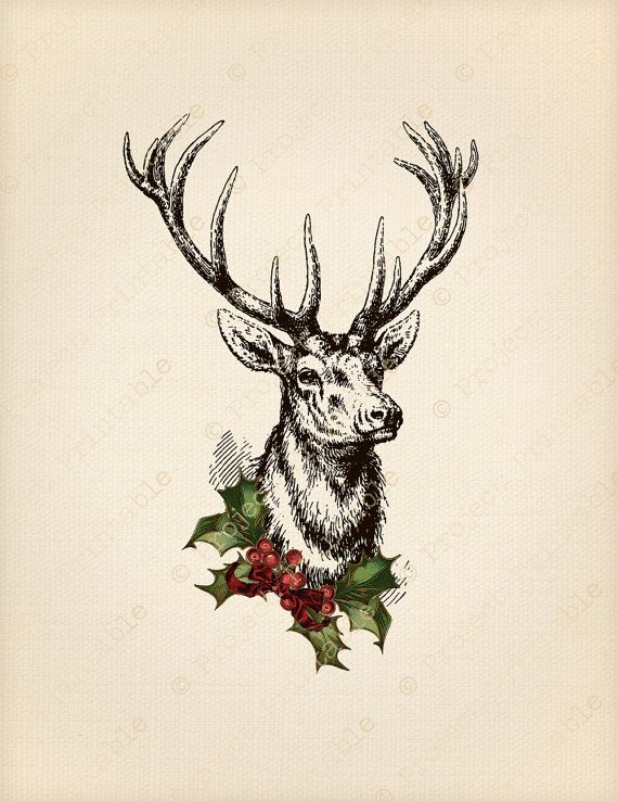 Christmas Stag Deer Holly Printable Image Transfer - Great for wood, fabric, canvas, burlap - Instant Digital Download - Downloadable Scrapbooking and Digital Collage Graphics - Vintage Inspired Clip Art