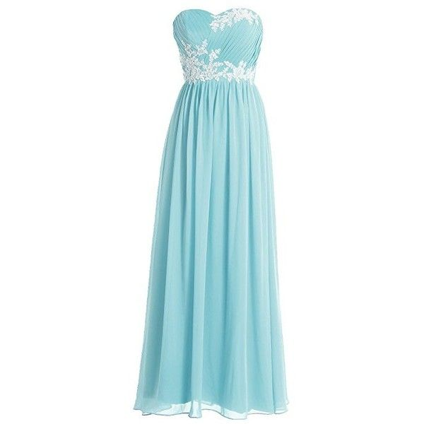 FAIRY COUPLE A-line Chiffon Strapless Cocktail Party Bridesmaid Dress... ($50) ❤ liked on Polyvore featuring dresses, cocktail dresses, blue cocktail dress, blue dress, evening dresses and blue evening dresses