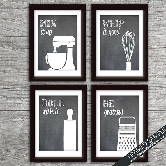 Funny Kitchen Art Print Set (Mixer, Whisk, Rolling Pin And