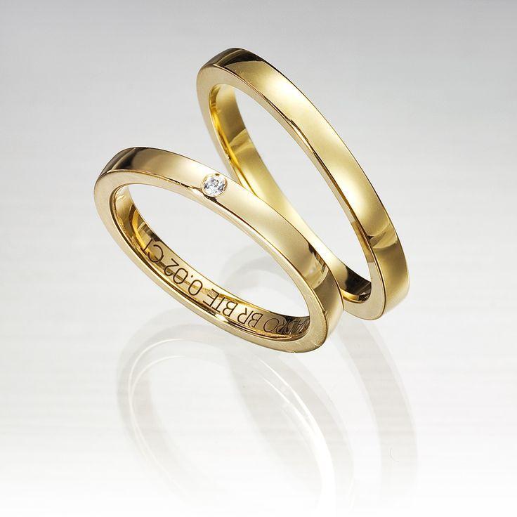 Alianza de oro amarillo de 18K modelo Cuadrada superficie brillo #bodas #alianzas #novia | cnavarro.com