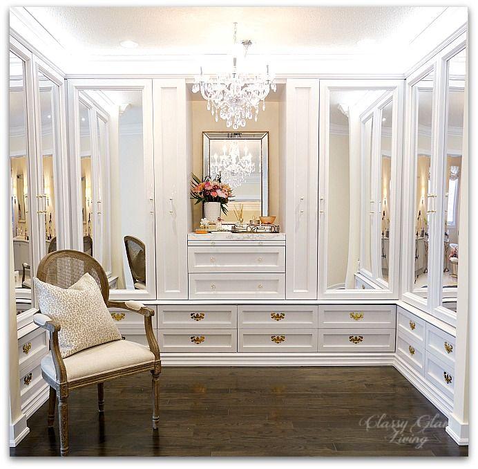 DIY Custom Closet Dressing Room | Crystal chandelier, acrylic mirrors | Classy Glam Living