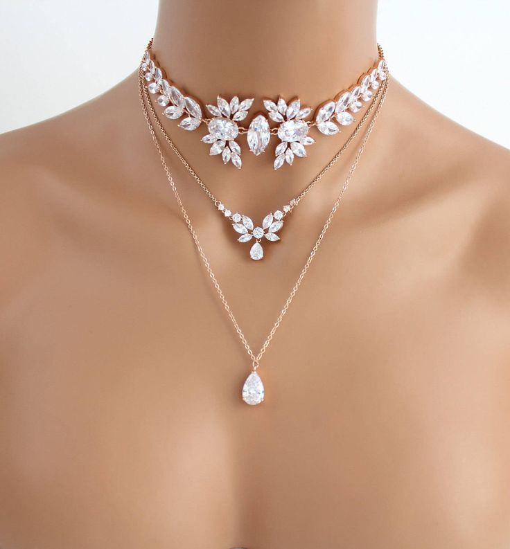 Rose Gold layered necklace, Bridal necklace, Bridal jewelry, Rose gold choker necklace, Statement necklace, Swarovski Wedding necklace by TheExquisiteBride on Etsy