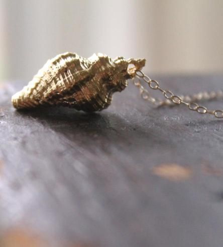 This is lovely. :: Matte Gold Conch Shell Necklace by Anne Potter