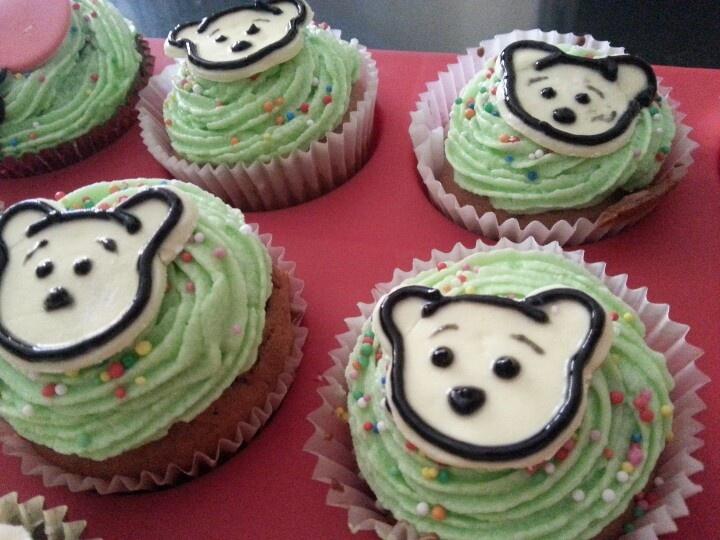 Handmade fondant Winnie the pooh cupcakes
