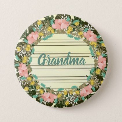 """Wreath """"Pink Love"""" Flowers Floral Vector Button - floral style flower flowers stylish diy personalize"""