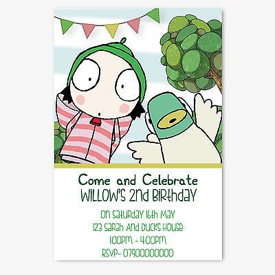 Personalised Sarah and Duck Children\'s Birthday Party Invitation ...