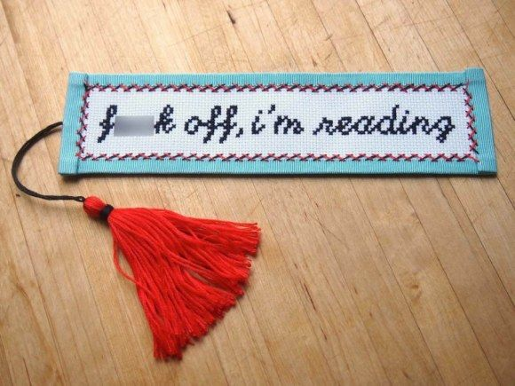 subversive cross stitch: bookmark | how to finish a cross stitch bookmark.