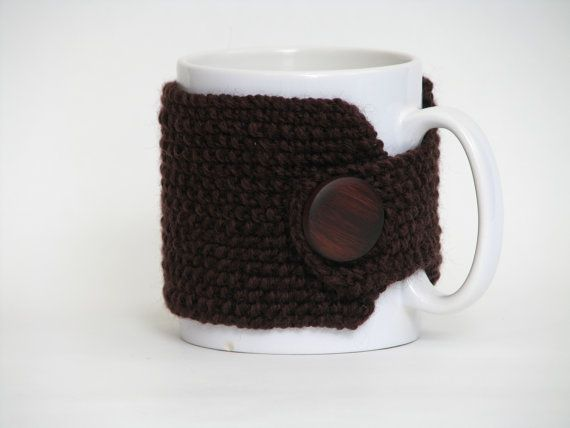 Cup Cozy Hand Knitted Brown by AGirlNamedMariaDK on Etsy #cup #cups #mug #mugs #warmer #warmers #cozy #cozies #coffee #tea #cocoa #hot #drink #drinks #etsy #agirlnamedmariadk #tableware #danish #denmark #design #scandinavia #scandinavian #knitted #knit #knitting #brown #wood #wool #cotton #button #buttons