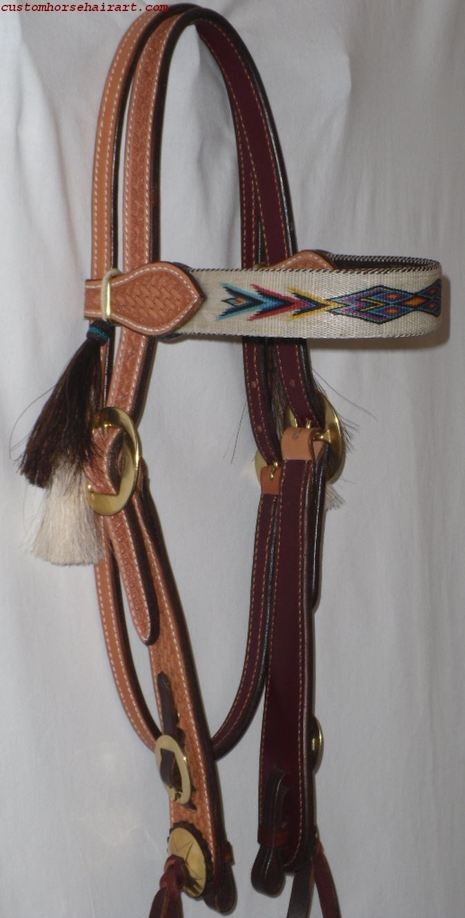 Old West Style Leather Headstall W/Hitched Browband