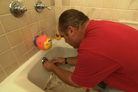with plumbing and heating expert Richard Trethewey | thisoldhouse.com | from How to Fix a Bathtub Drain Stopper