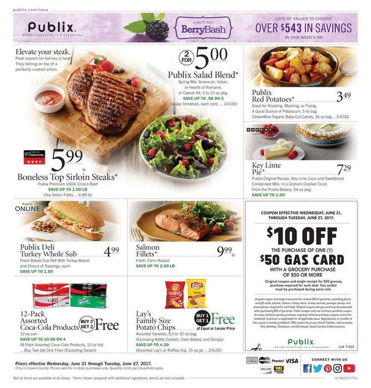 Publix Weekly Ad Circular June 21 - 27 United States #food #savings #Publix