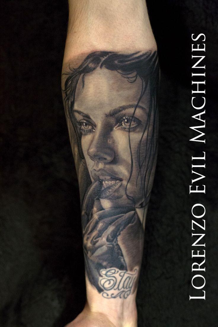 Realistic Tattoo by Lorenzo Evil Machines, Roma Italia - Woman - Beauty Art - Realistic Black and GrayRealistic Black and Gray Portrait Tattoo - Sexy