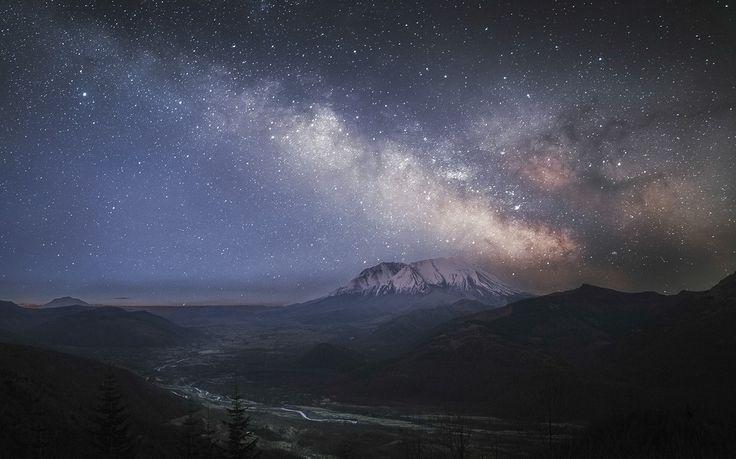 landschap, berg, melkachtige manier, vallei, sterrenhemel, rivier, besneeuwde top, lange blootstelling, bomen, mist, natuur