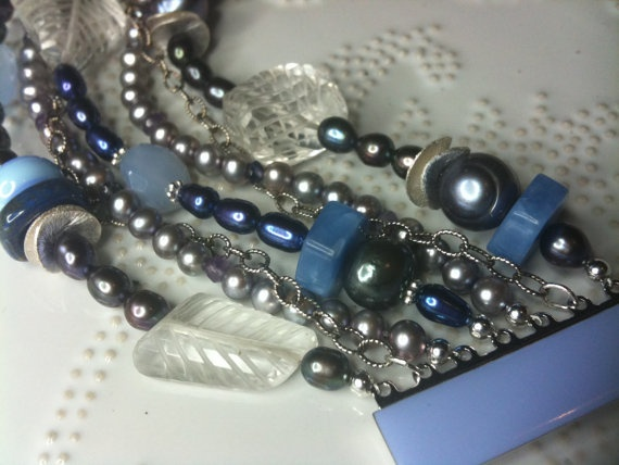 Deliciously Blue  Peacock pearls Rock Crystal Blue by WencheDesign, $250.00