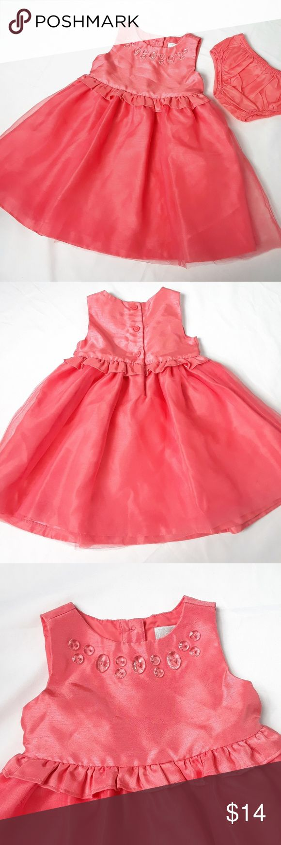 Dressed Up by Gymboree Orange Coral Dress 12-18m Orange/coral beaded dress from Gymboree. Has clear faceted beads on front, tulle layered skirt, buttons in the back, comes with matching diaper cover. Perfect for Easter, weddings, and other spring time events. 12-18m. Has one small mark on back of skirt tulle (see last picture). Gymboree Dresses Formal