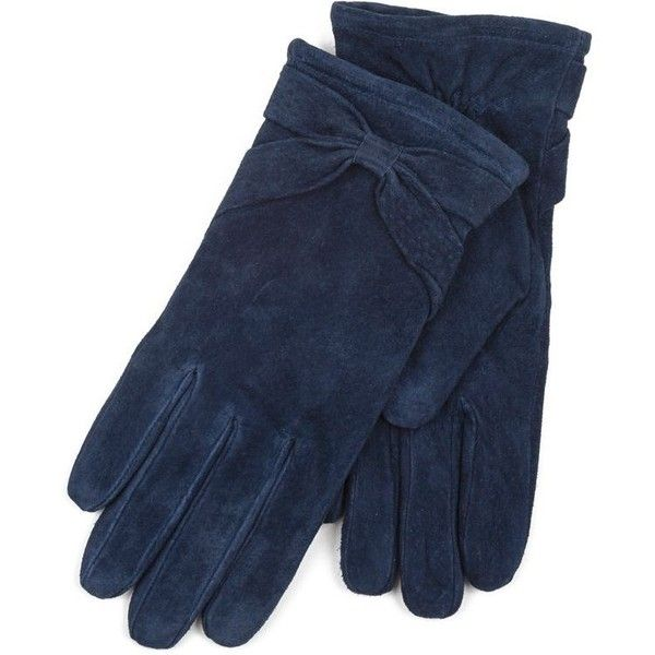 Isotoner Ladies Navy Genuine Suede Glove with Bow Detail (2.075 RUB) ❤ liked on Polyvore featuring accessories, gloves, navy blue gloves, suede gloves, bow gloves, isotoner and isotoner gloves