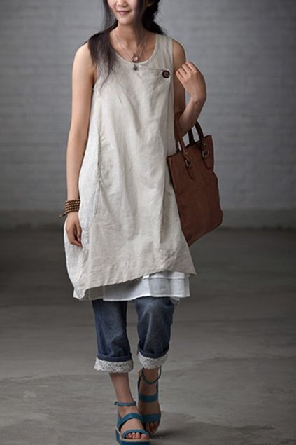 Layers over denim capris with lace hem. Love this!
