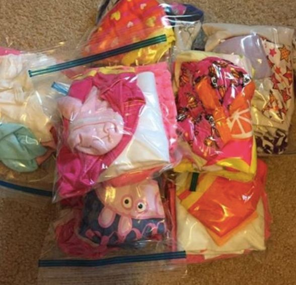 Traveling with baby? Pack your baby's outfits (including diapers and socks) in separate Ziploc bags labeled by day.